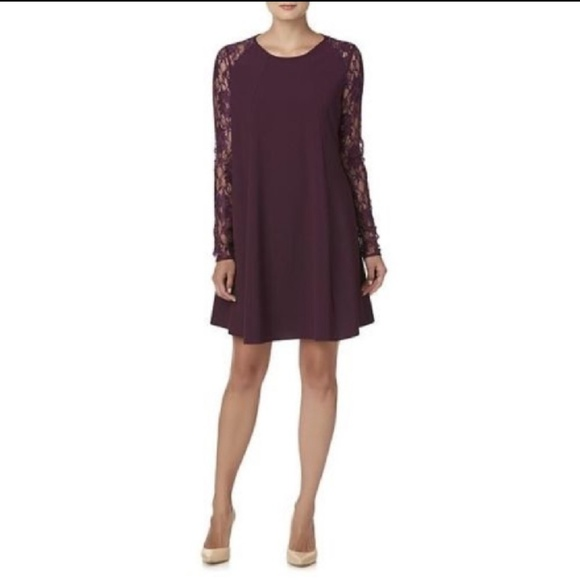 910b94b75e98 Purple lace sleeve swing dress XL NWT